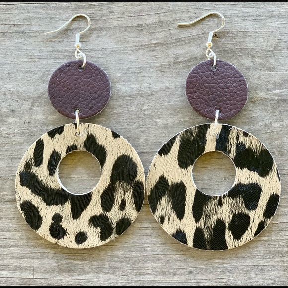 Round Leopard Print Faux Leather Earrings